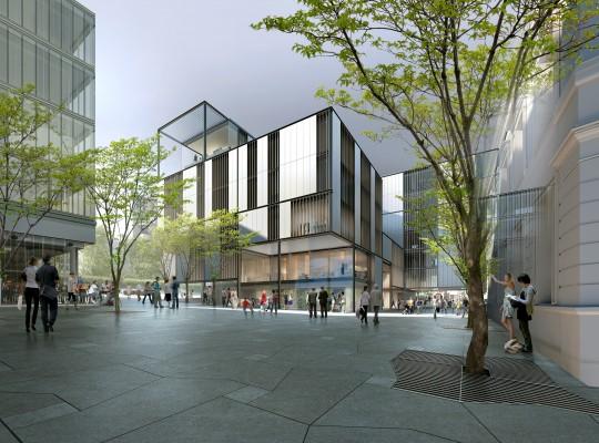 Perspective de concours - OAB Office of Architecture in Barcelone Carlos Ferrater - Hôtel de Ville de Bagnolet