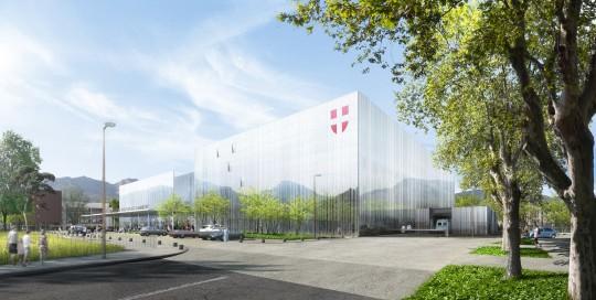 Perspective de concours - BRUNET SAUNIER architectes - Hôpital à Chambéry
