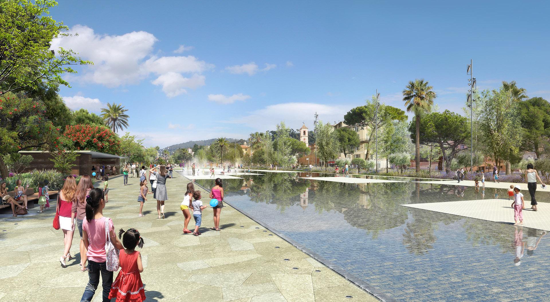 """Perspective de concours - PENA & PENA Paysagistes - Parc urbain à Nice """"La coulée verte"""""""