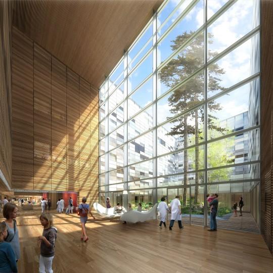 Perspective de concours - BRUNET SAUNIER ARCHITECTURE - Hôpital de Belfort