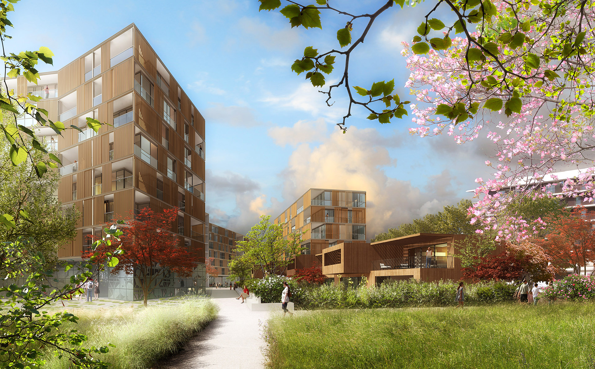 Perspective de concours - Agence VEZZONI & Associés - Architectes - Eco-quartier Ginko à Bordeaux
