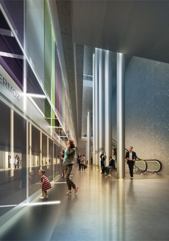 Perspective de concours - CANAL ATELIER D'ARCHITECTURE - Station de métro et logements à Rennes