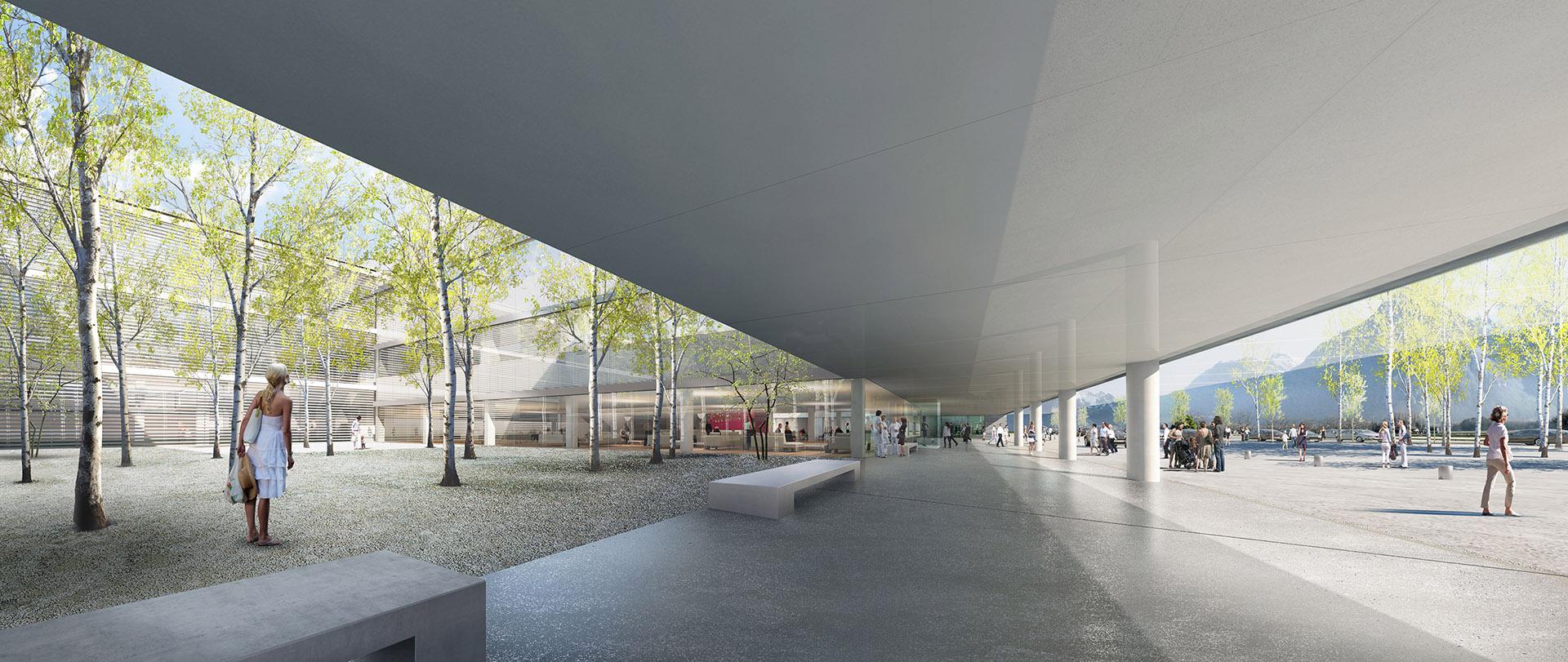 Perspective de concours - BRUNET SAUNIER ARCHITECTURE - Hôpital Rennaz en Suisse