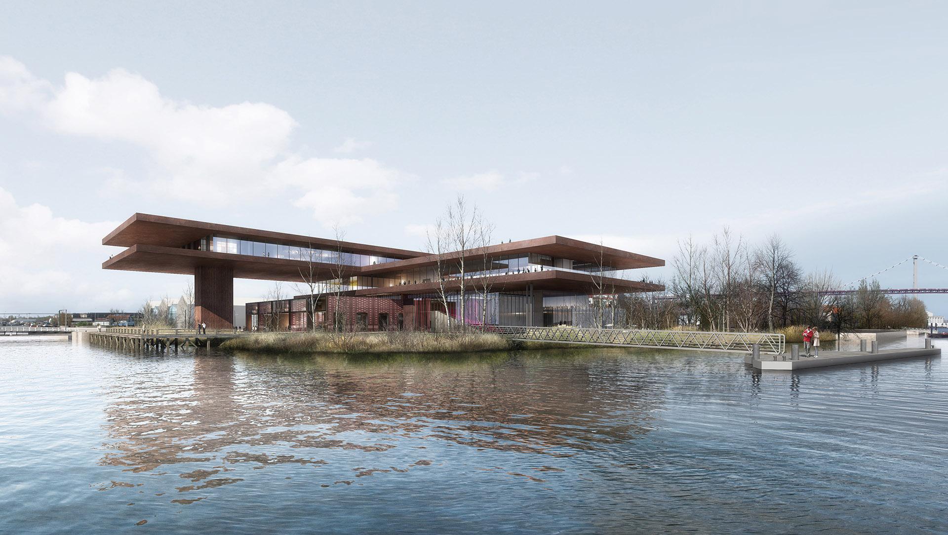 Perspective de concours - Atelier Marc BARANI - Architectes - Cité des Vins à Bordeaux