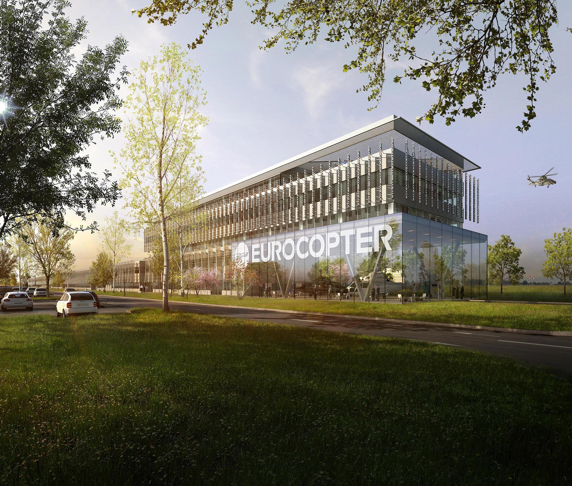 Perspective de concours - Atelier Jean-François SCHMIT Architectes- Usine Eurocopter au Bourget