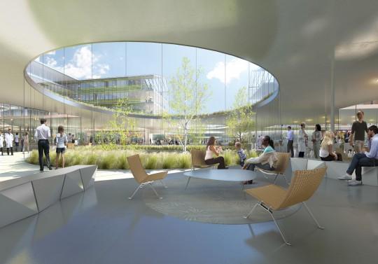 Perspective de concours - Brunet Saunier Architecture - Hôpital à Copenhague