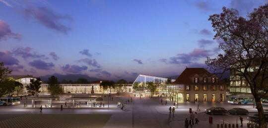 Perspective de concours - GAUTIER + CONQUET - Architectes - Pôle multimodal à Annemasse