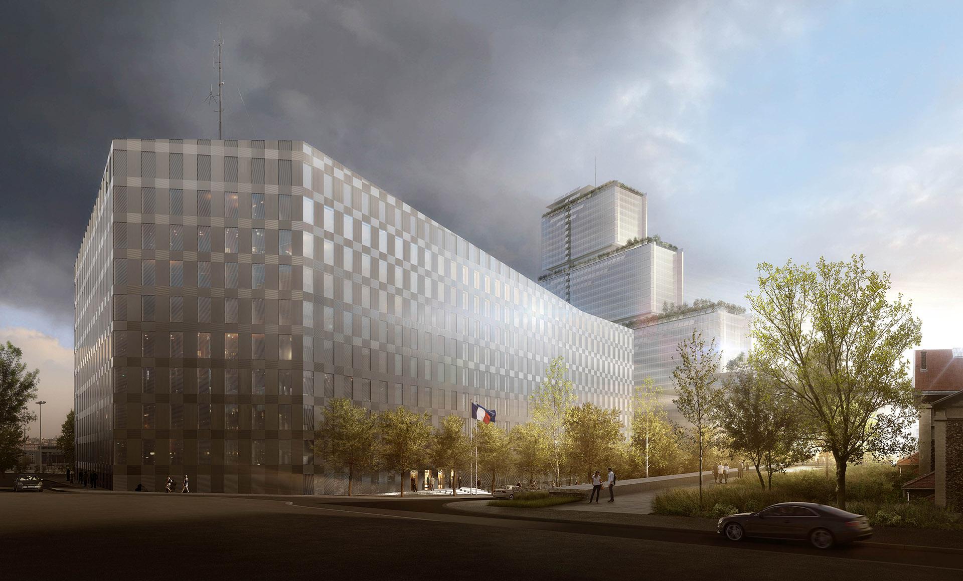 Perspective de concours - BRUNET SAUNIER Architectes - Direction Régionale de la Police Judiciaire (DRPJ) à Clichy