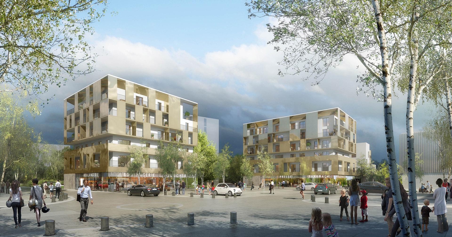 Perspective de concours - RVA - Architectes - Logements à Fosses