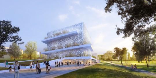 Perspective de concours - ATELIER D'ARCHITECTURE EMMANUEL NEBOUT - Cité du corps humain à Montpellier