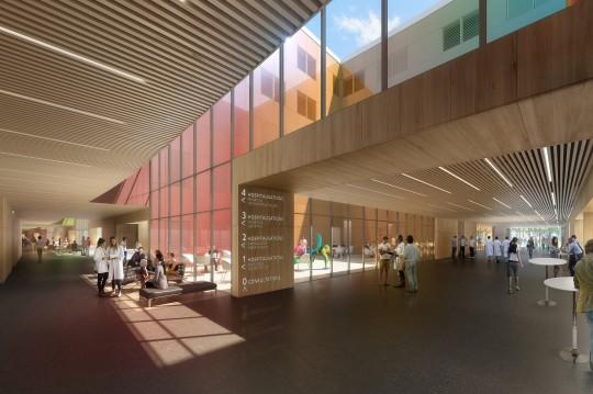 Perspective de concours - BRUNET SAUNIER Architectes - Hôpital à Libourne