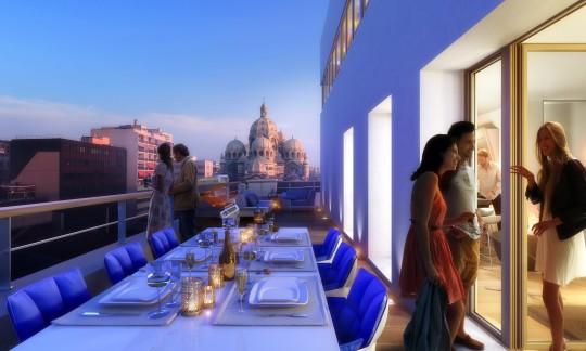 """Perspective immobilière - EIFFAGE - Promoteur - Logements SNCM """"Immeuble Le Castel"""" à Marseille"""