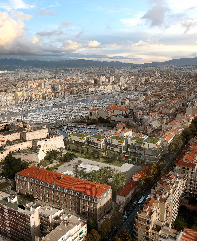 Perspective de concours - AGD (Atelier Antoine Garcia Diaz Architecture) - Caserne Aurelle à Marseille
