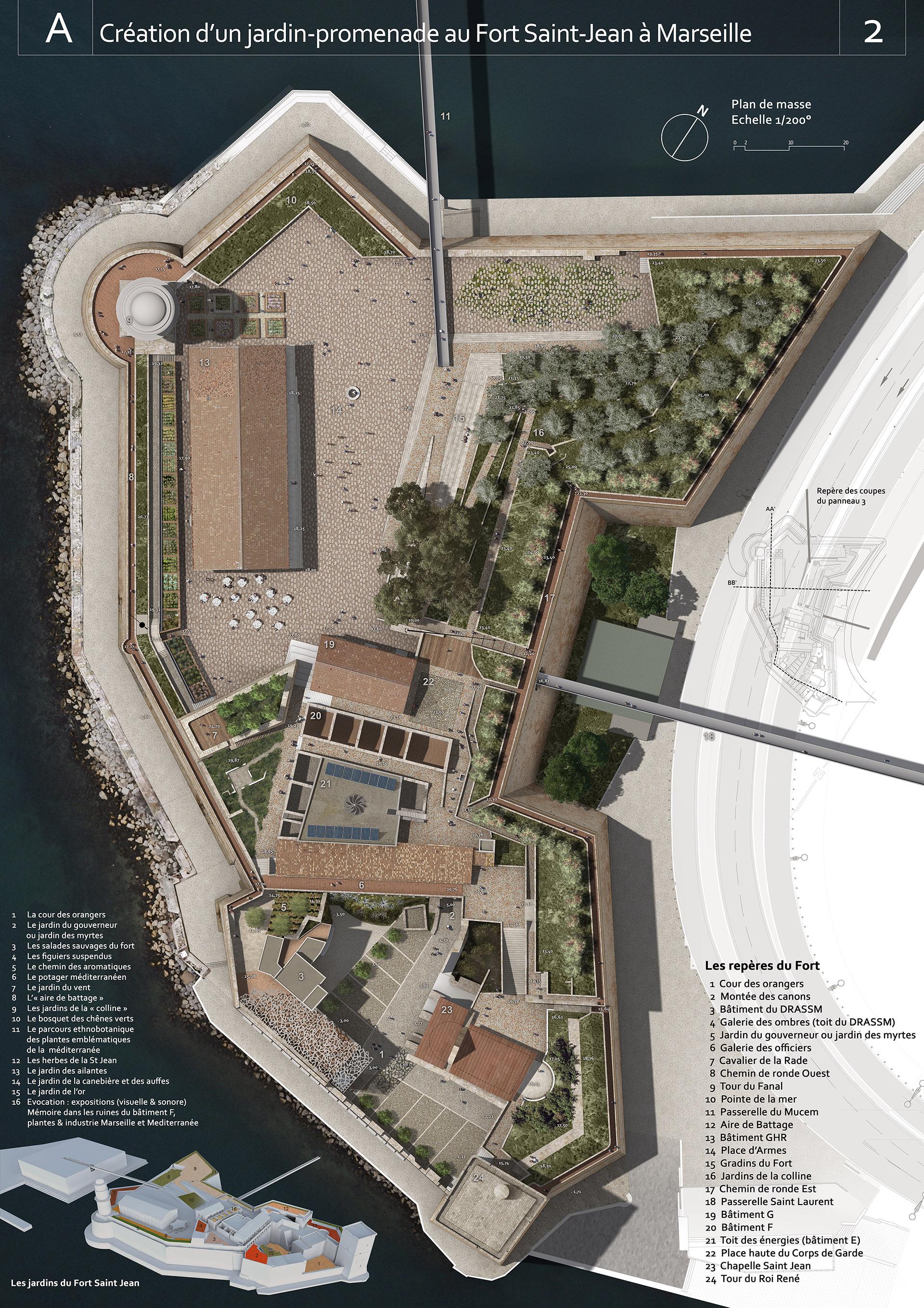 Perspective de concours - Agence APS Architecture de l'espace public Paysage et Urbanisme - Fort Saint-Jean à Marseille