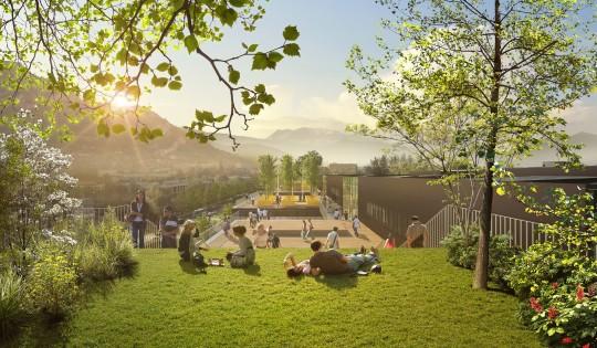 Perspective de concours - BRUNET SAUNIER ARCHITECTURE - Université Greener à Grenoble