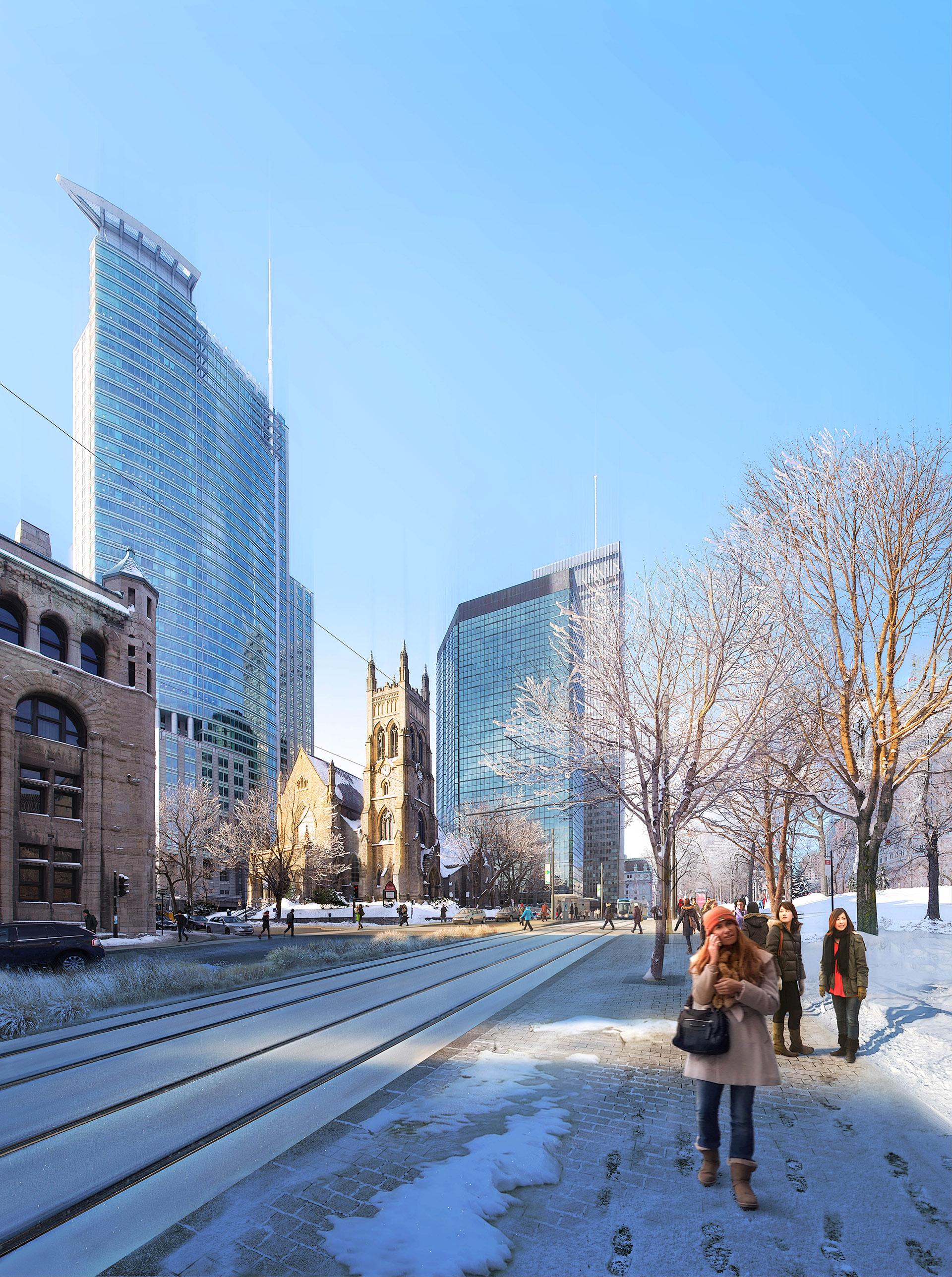 Perspective de concours - GAUTIER+CONQUET Architectes - Tramway à Montréal
