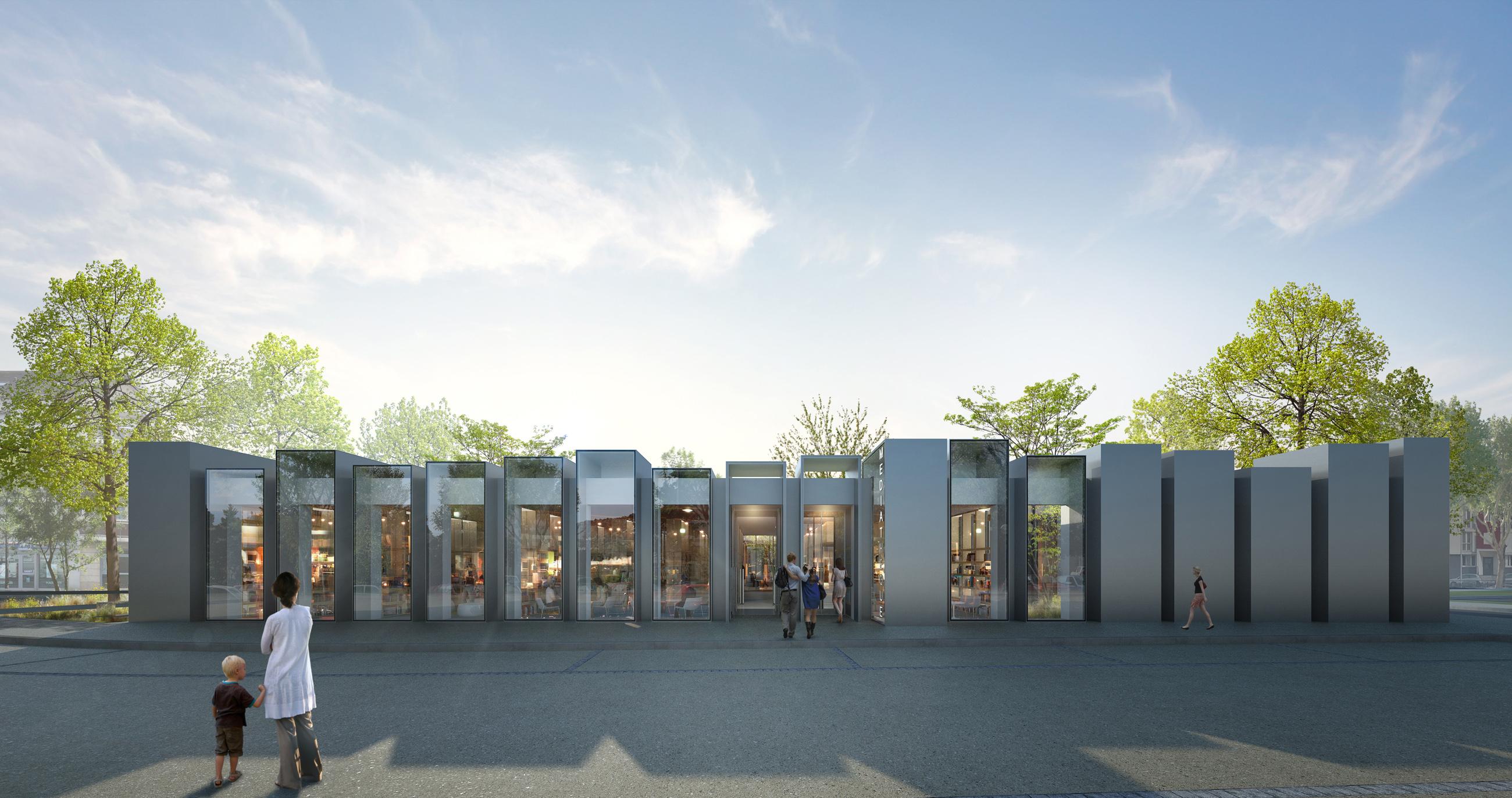 Perspective de concours - GAUTIER+CONQUET ARCHITECTES - Médiathèque à Villiers-le-Bel