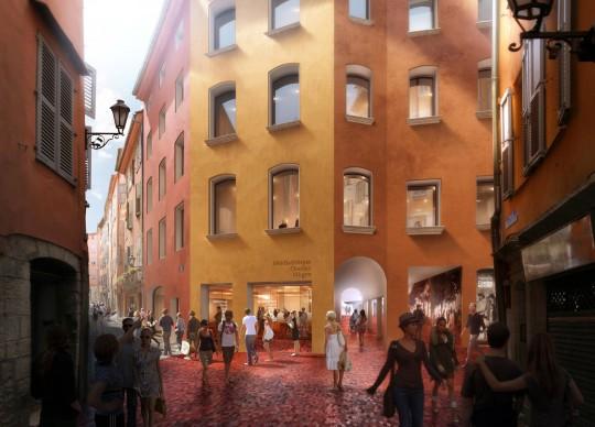 Perspective de concours - Agence VEZZONI & Associés - Architectes - Médiathèque de Grasse