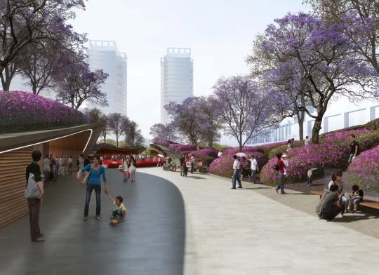Perspective de concours - Pena & Pena - Paysagistes - Place Shenzen en Chine