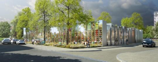 Perspective de concours - GAUTIER & CONQUET - Architectes - Médiathèque à Villier-le-Bel