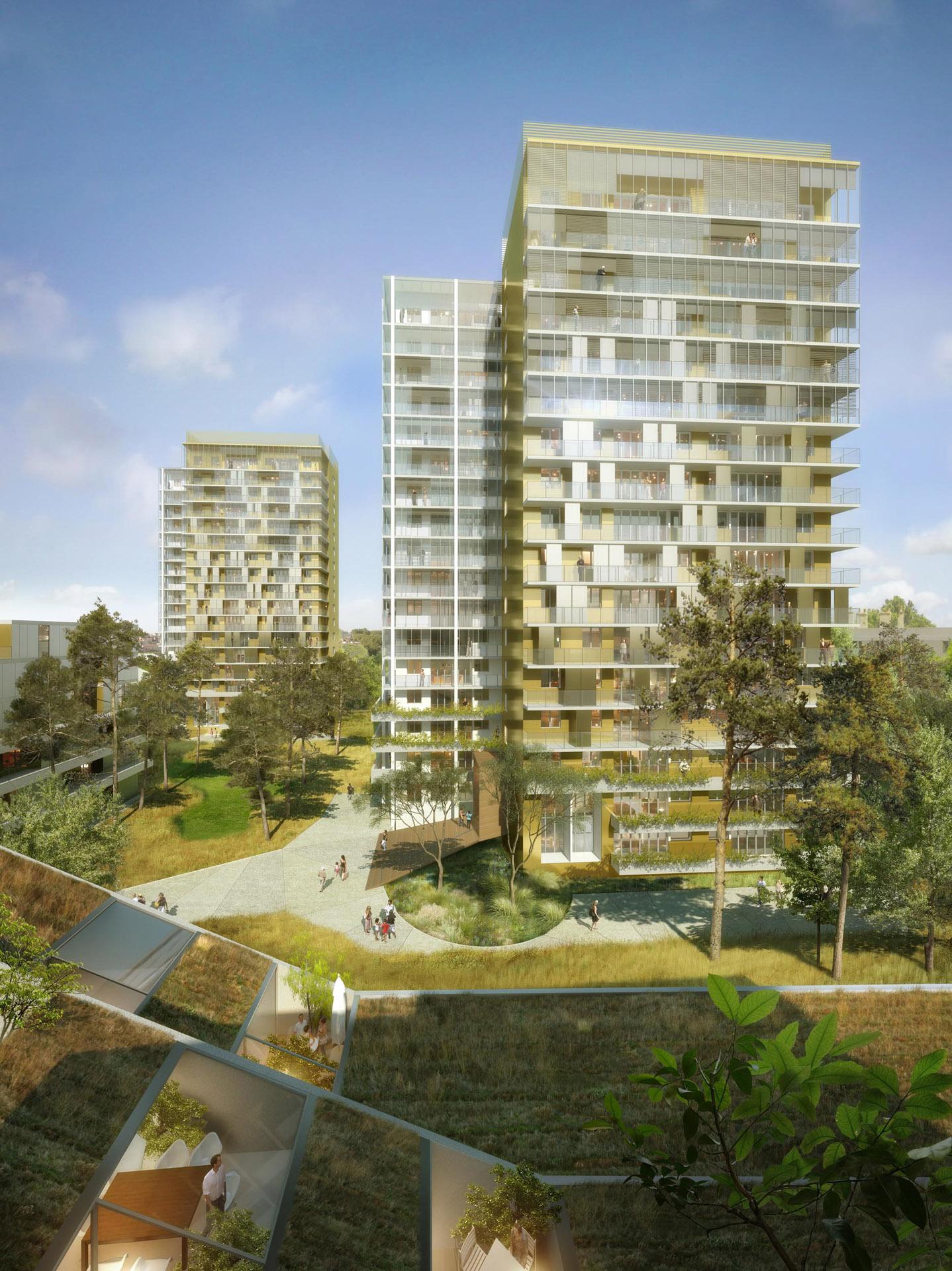 Perspective de concours - Etude urbaine - RVA Architecture Urbanisme Paysage - Réhabilitation de Tours à Maison-Alfort