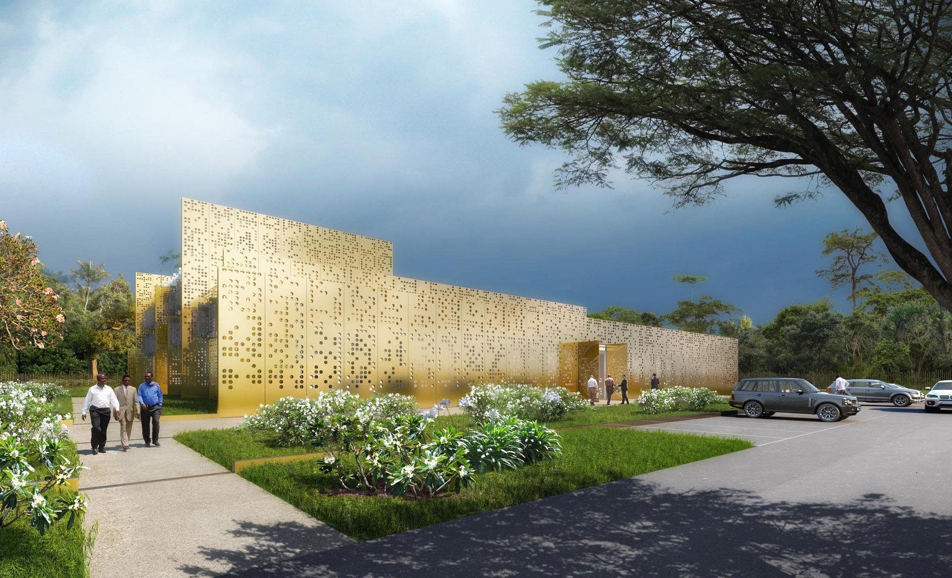 Perspective de concours - DGLA Sud Architecture Urbanisme Design - Banque Ebebiyin en Afrique