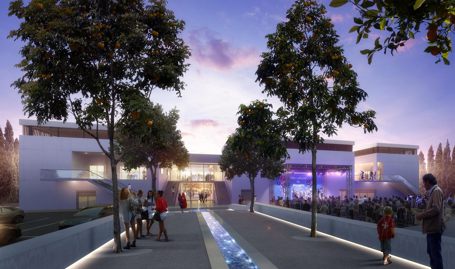 Perspective de concours - BAM (Bureau d'Architecture Méditerranée) - Pôle culturel à Mougins
