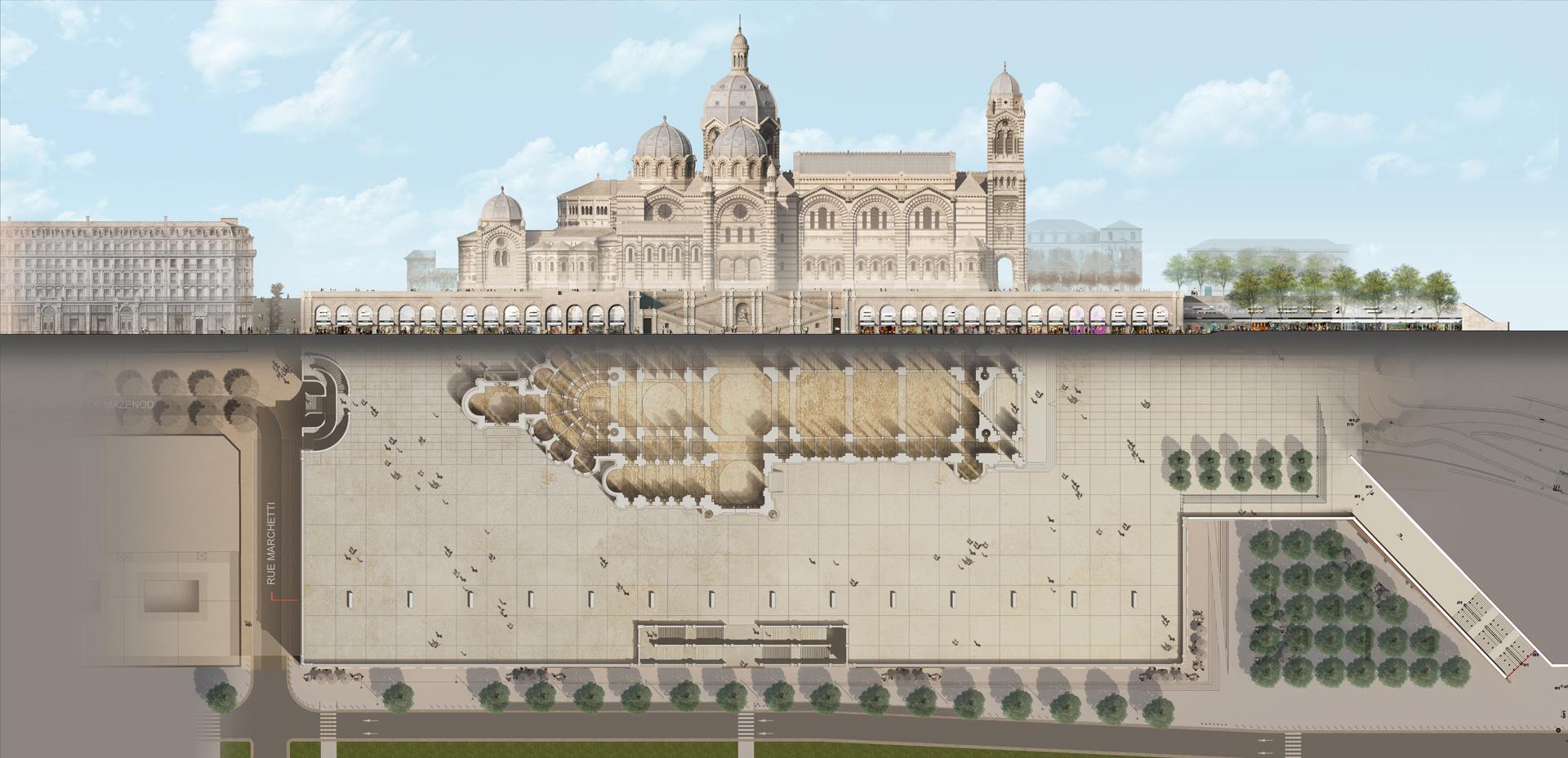 Perspective de concours - JB PIETRI Architectes - Les Voûtes de la Major à Marseille