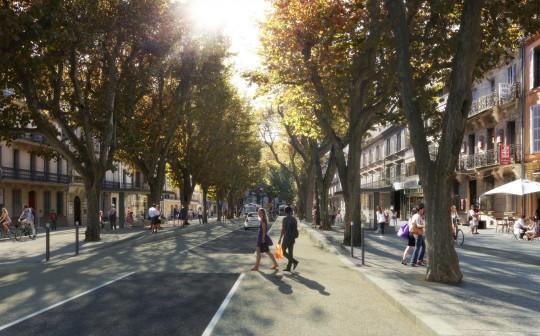 Perspective de concours-Gautier+Conquet-Architecte-TCSP AIX_VUE VICTOR HUGO