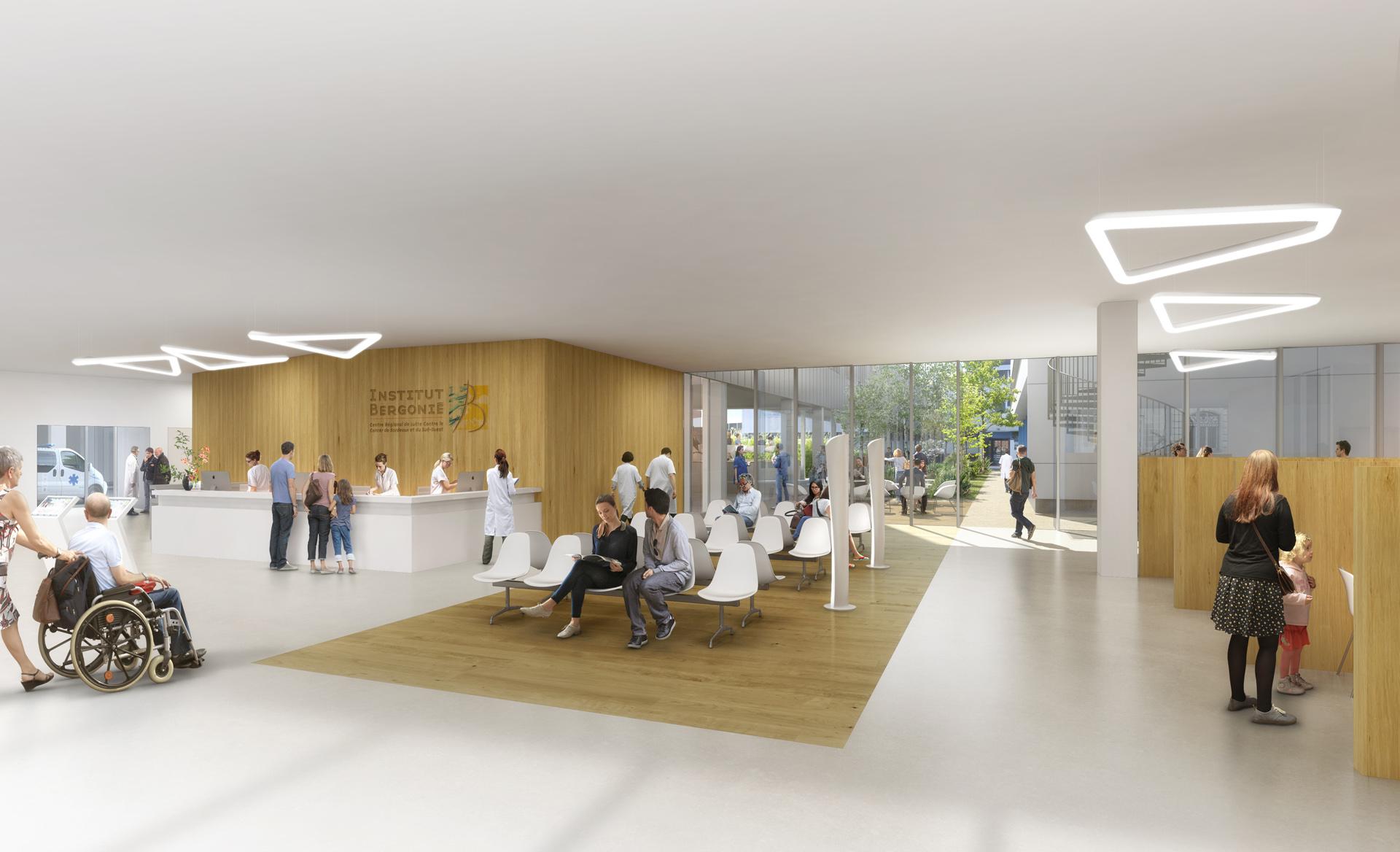 Perspective de concours-BRUNET SAUNIER ARCHITECTES-SPIE BATIGNOLLES-Pole Chirurgical Bergonié à Bordeaux