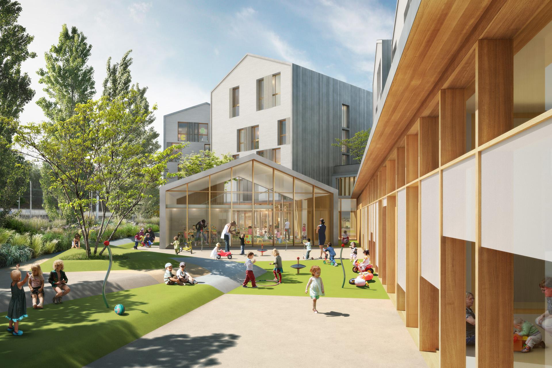 COBE Architectes-Crèche et Résidence à Sceaux-Perspective de concours