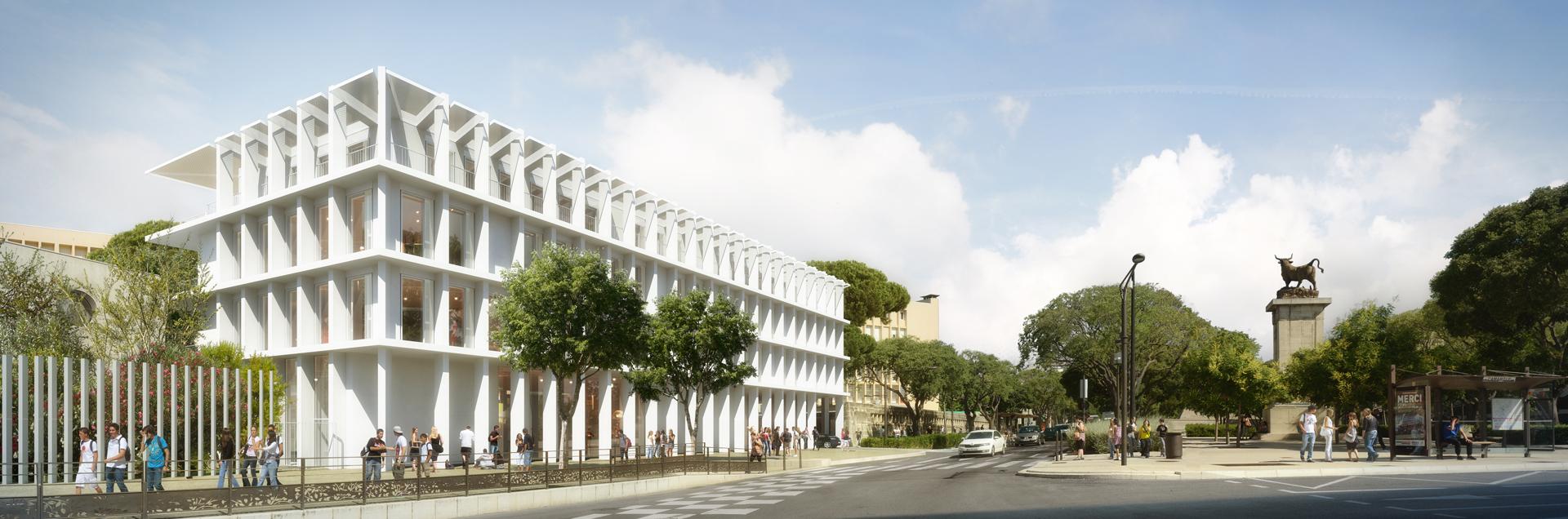 TRAVERSES Architectes-Lycee Hemingway Nimes-Perspective de concours